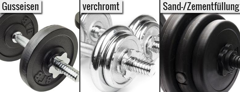 Kurzhanteln: Material der Gewichtsscheiben